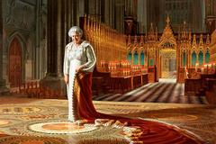 Portrait of the Queen defaced with spray paint at Westminster Abbey